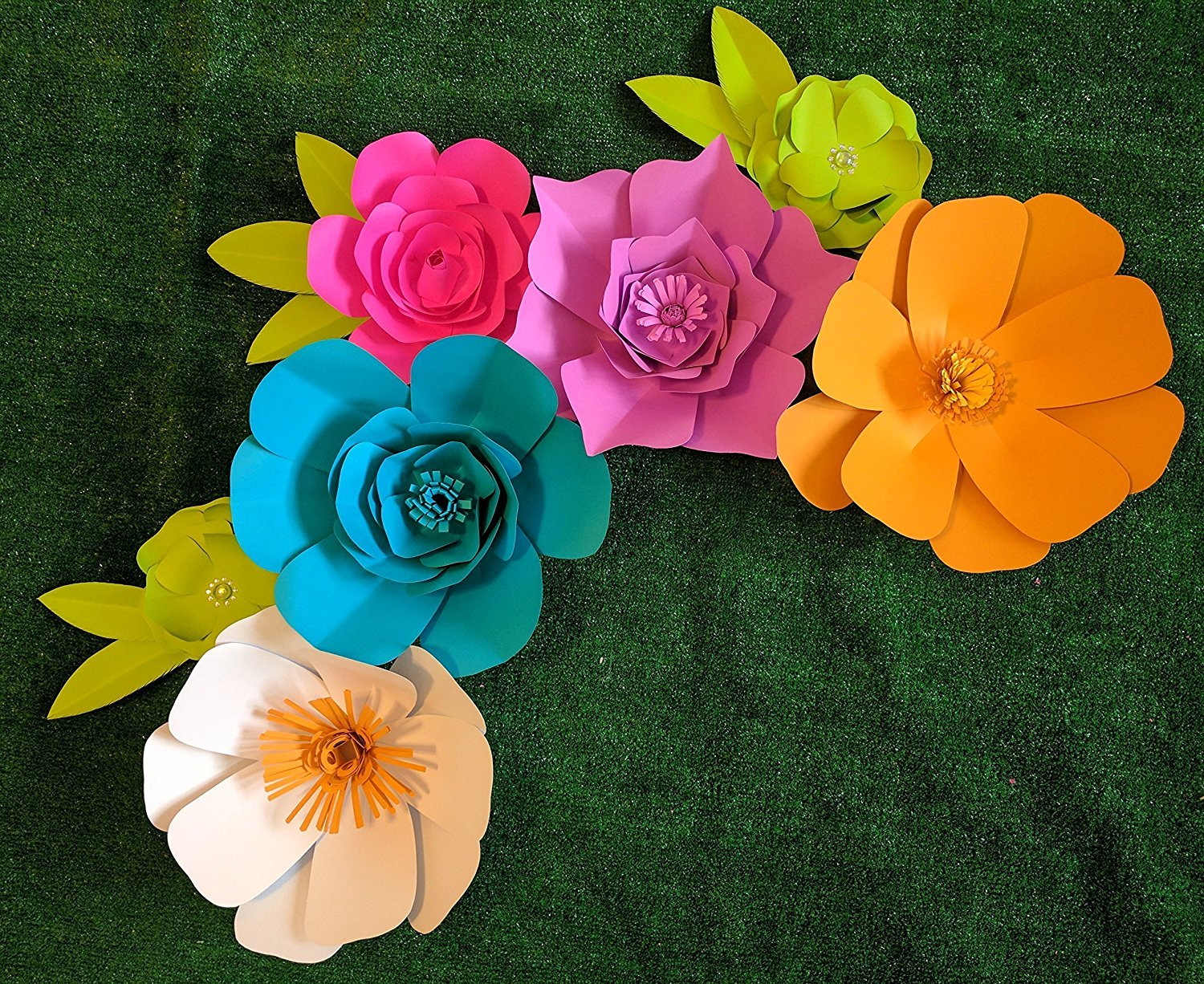 Bright Multicolor Paper Flowers For Backdrops Includes 7 Paper